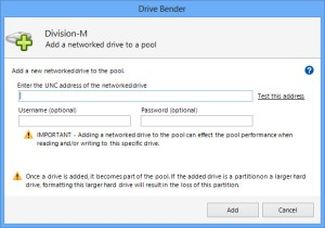 Adding a networked drive to the pool